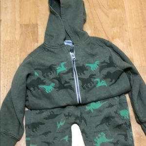 Little boys green with dinosaurs sweat suit.